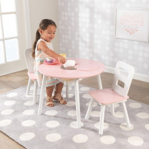 TABLE & CHAIRS WHITE/PINK