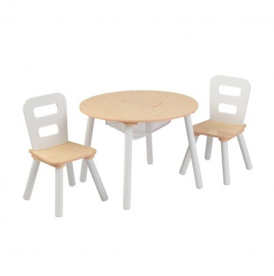 TABLE & CHAIRS WHITE/NATURAL